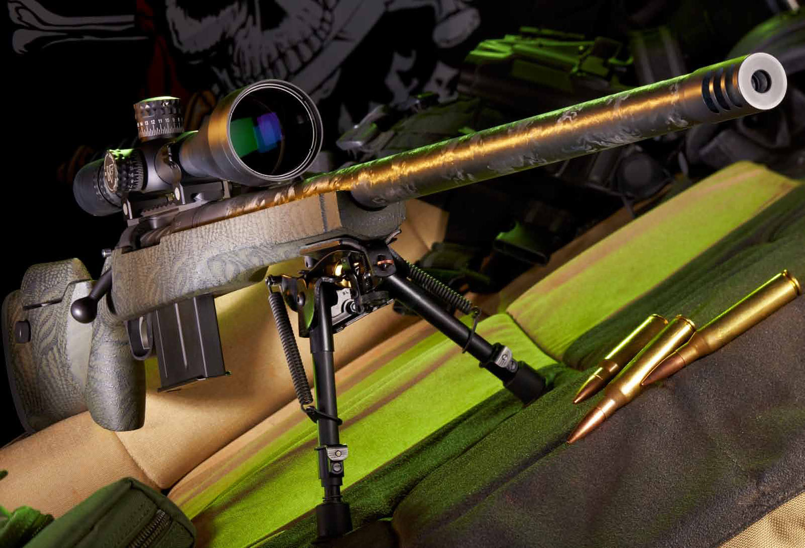 The Nightforce 5.5-22x50mm scope's long-range capability is a perfect match for the Proof Research TAC II. You'll be surprised by this .338 rifle's lightweight when you carry it afield.